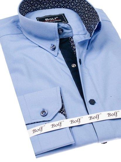 Blankytná pánská elegantní košile s dlouhým rukávem Bolf 7723