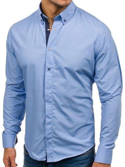 Blankytná pánská elegantní košile s dlouhým rukávem Bolf 7727
