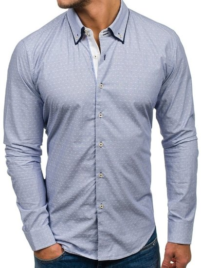 Blankytná pánská elegantní košile s dlouhým rukávem Bolf 9658