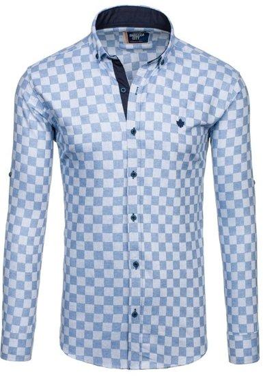 Blankytná pánská kostkovaná košile s dlouhým rukávem Bolf 01