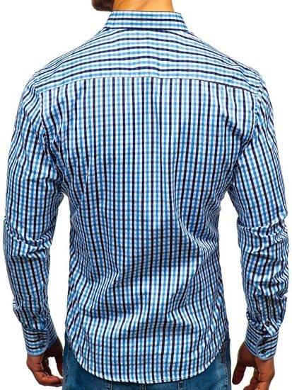 Blankytná pánská kostkovaná košile s dlouhým rukávem Bolf 4712