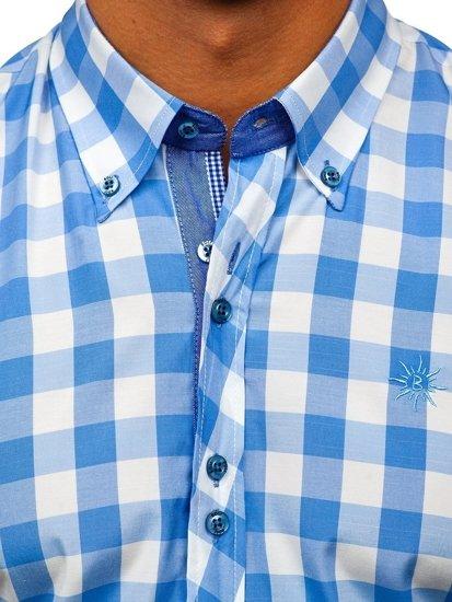 Blankytná pánská kostkovaná košile s krátkým rukávem Bolf 6522