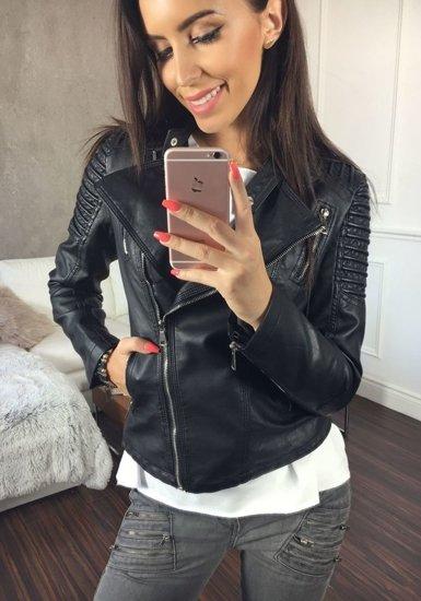 Černá dámská kožená bunda z ekokůže Bolf 8817