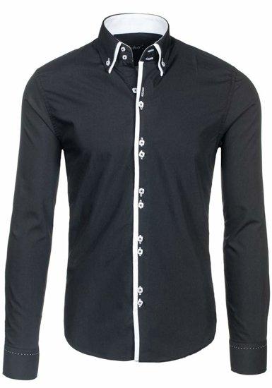 Černá pánská elegantní košile s dlouhým rukávem Bolf 1721-A