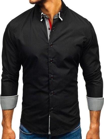 Černá pánská elegantní košile s dlouhým rukávem Bolf 1747