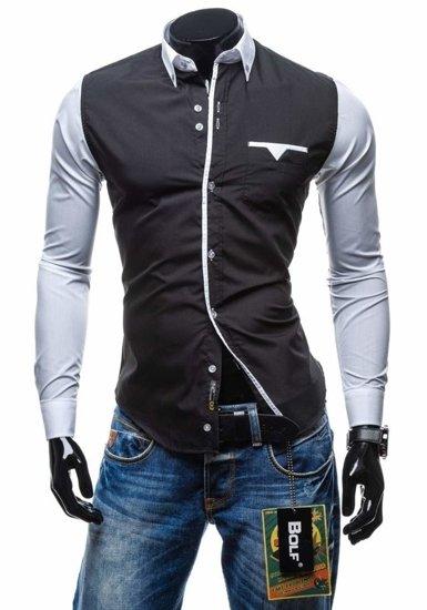 Černá pánská elegantní košile s dlouhým rukávem Bolf 5726