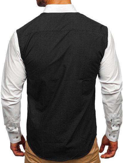 Černá pánská elegantní košile s dlouhým rukávem Bolf 6919
