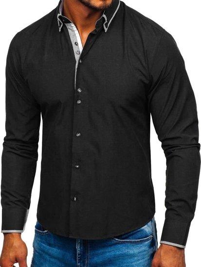 Černá pánská elegantní košile s dlouhým rukávem Bolf  6929-A