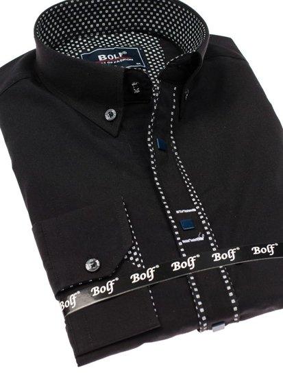 Černá pánská elegantní košile s dlouhým rukávem Bolf 7721