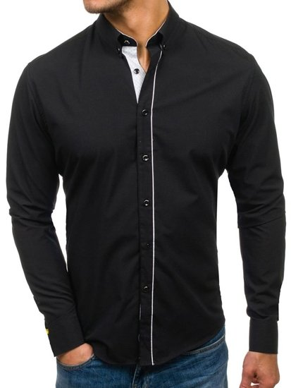 Černá pánská elegantní košile s dlouhým rukávem Bolf 7725