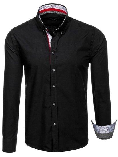 Černá pánská elegantní košile s dlouhým rukávem Bolf 8839