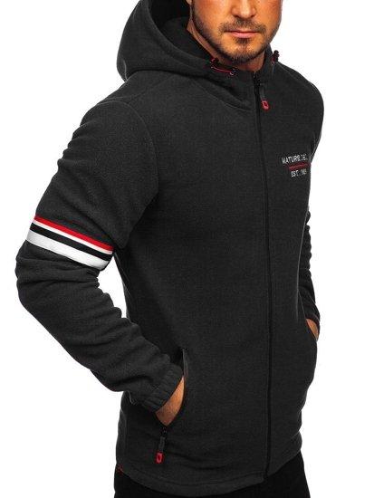 Černá pánská fleecová mikina s kapucí Bolf YL001