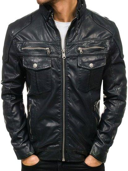 Černá pánská kožená bunda z ekokůže Bolf 3051