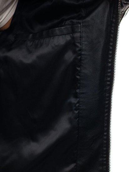 Černá pánská kožená bunda z ekokůže Bolf 9111