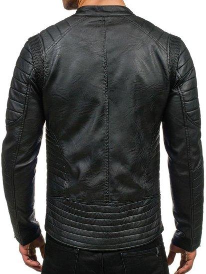 Černá pánská kožená bunda z ekokůže Bolf 9129