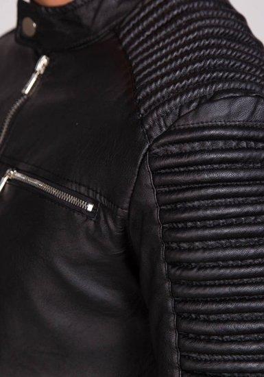 Černá pánská kožená bunda z ekokůže Bolf 9130