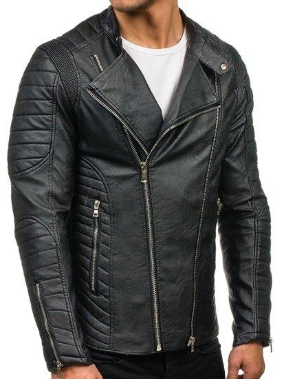 24748f7e9c6 Černá pánská koženková bunda Bolf 9129