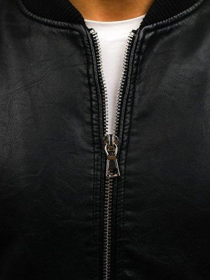 Černá pánská koženková bunda Bolf 9150