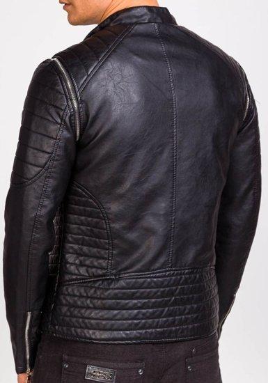Černá pánská koženková bunda Bolf 9153