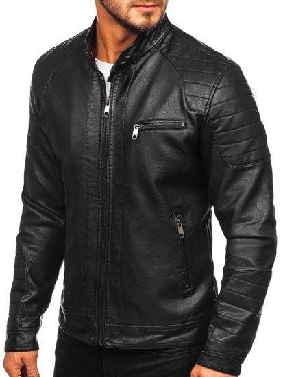Černá pánská koženková bunda biker Bolf 88902