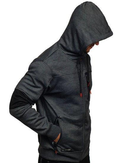 Černá pánská mikina na zip s kapucí Bolf TC869