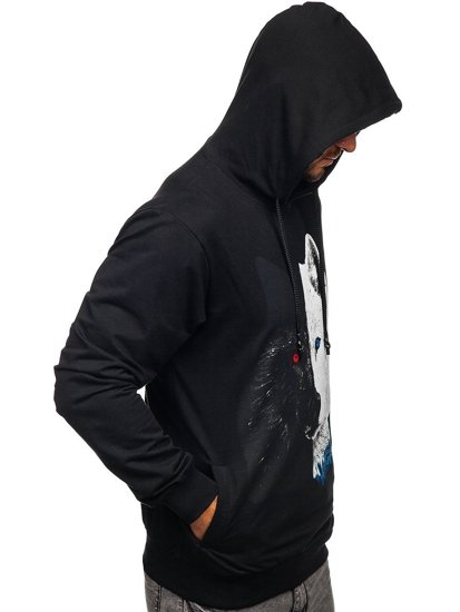 Černá pánská mikina s kapucí a potiskem Bolf 6144
