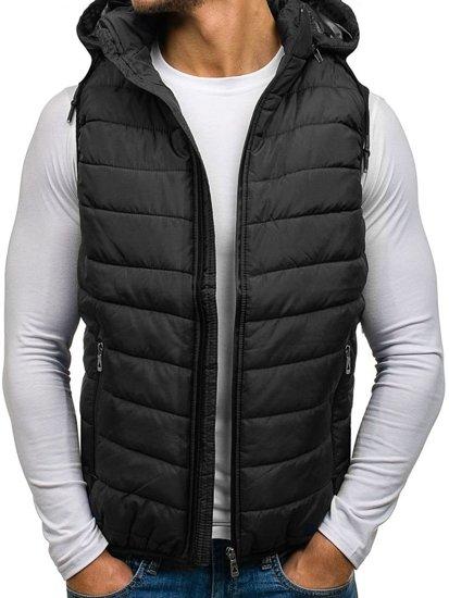 Černá pánská prošívaná vesta s kapucí Bolf 1006