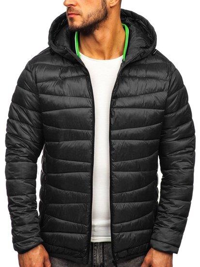 Černá pánská prošívaná zimní bunda Bolf 1139