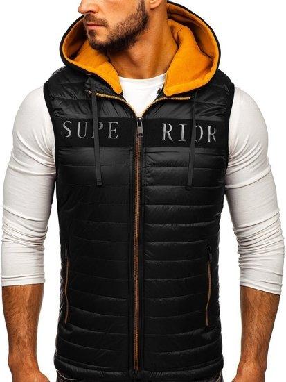 Černá pánská vesta s kapucí Bolf 6101