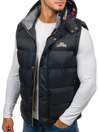 Černá pánská vesta s kapucí Bolf 6794