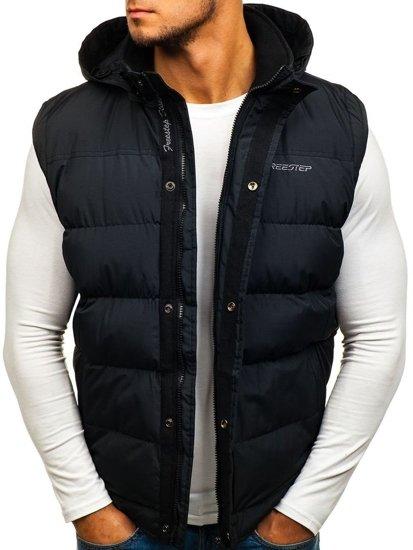 Černá pánská vesta s kapucí Bolf 8260