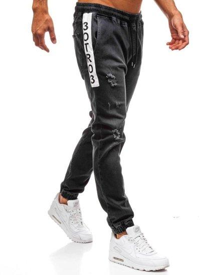 Černé pánské džínové jogger kalhoty Bolf 2031