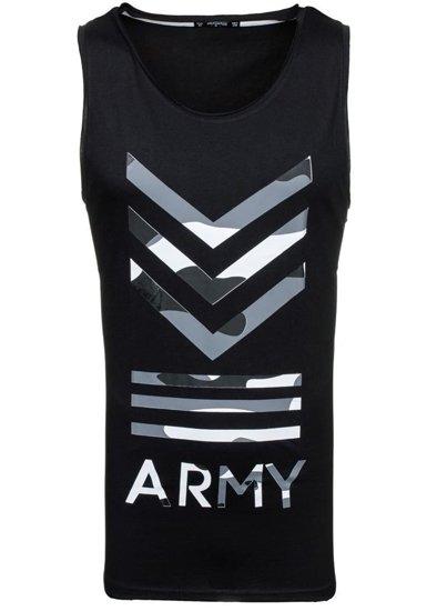 Černé pánské tričko bez rukávů Bolf 1053