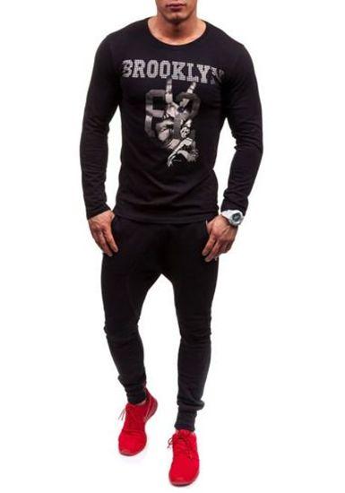 Černé pánské tričko s dlouhým rukávem a potiskem Bolf 1934