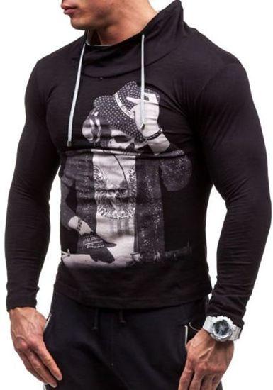 Černé pánské tričko s dlouhým rukávem a potiskem Bolf 2208