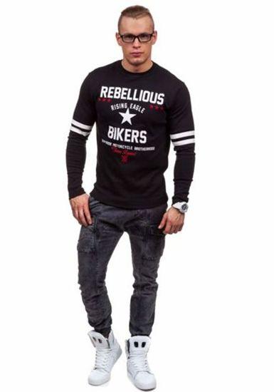 Černé pánské tričko s dlouhým rukávem a potiskem Bolf 4631
