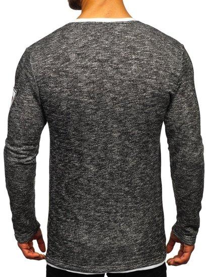 Černé pánské tričko s dlouhým rukávem a potiskem Bolf GK47