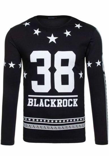 Černé pánské tričko s dlouhým rukávem s potiskem Bolf 2226