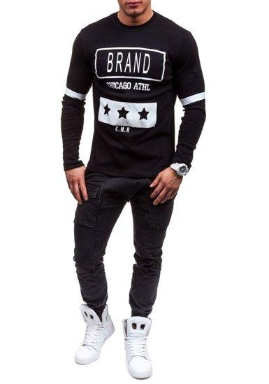 Černé pánské tričko s dlouhým rukávem s potiskem Bolf 4634