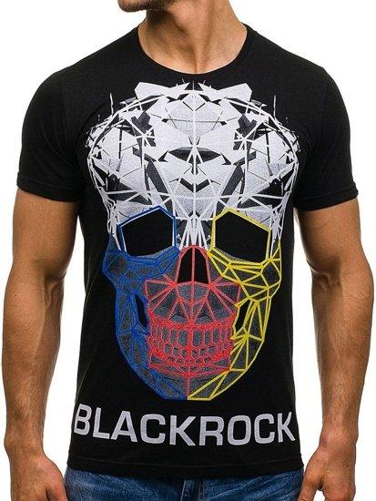 Černé pánské tričko s potiskem Bolf 1001