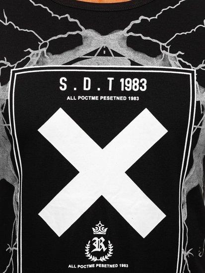 Černé pánské tričko s potiskem Bolf 10875