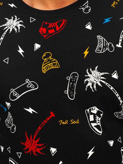 Černé pánské tričko s potiskem Bolf 1150
