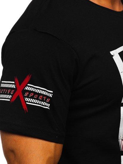 Černé pánské tričko s potiskem Bolf 14312