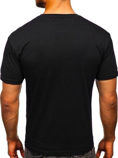 Černé pánské tričko s potiskem Bolf 14336