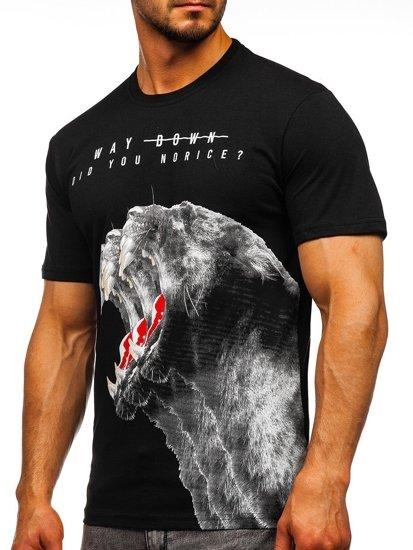 Černé pánské tričko s potiskem Bolf 181519