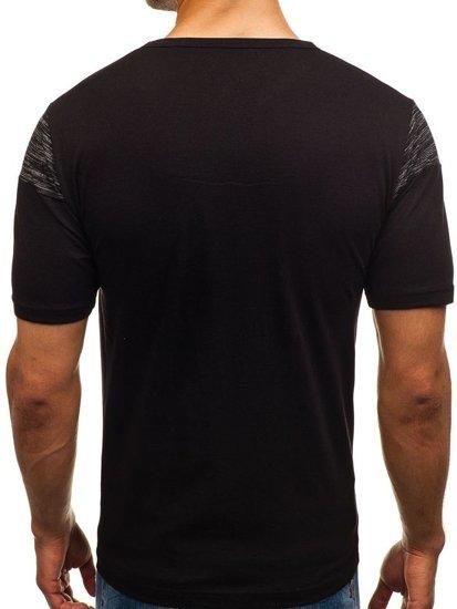 Černé pánské tričko s potiskem Bolf 6307
