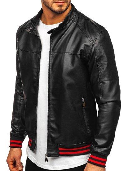 Černo-červená pánská koženková bunda s kapucí Bolf HY616