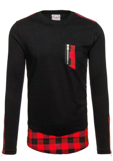 Černo-červená pánská mikina bez kapuce Bolf 0758