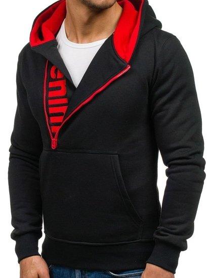 Černo-červená pánská mikina s kapucí Bolf Y10