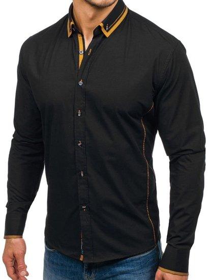 Černo-kamelová pánská elegantní košile s dlouhým rukávem Bolf 4720